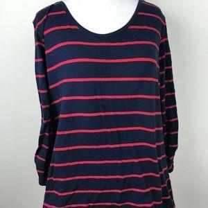 Susan Graver Womens Shirt Top Navy Blue Red Strip
